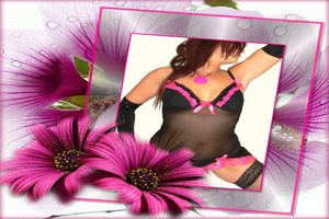 Black and pink trim chemise