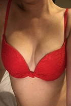 Red bra busty female