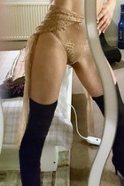 Beige knickers black stockings