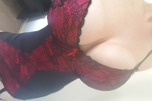 Red and black lace bodysuit